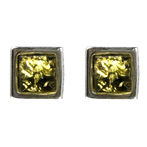 Sterling Silver Green Amber Small Square Stud Earrings