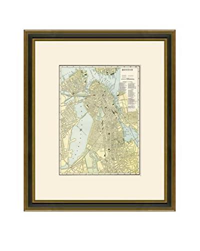 Vintage Print Gallery Antique Map Of Boston 1883-1903, Multi, 21.5 x 18.5