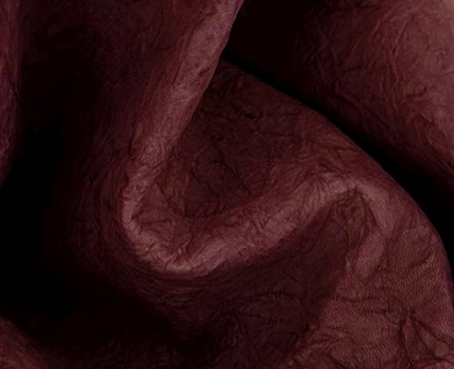 Italian Lambskin Leather Skin Hide Distressed Wrinkle Burgundy - 8 Sq.Ft On Sale