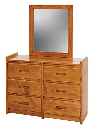 6 Drawer Dresser With Mirror Finish: Honey