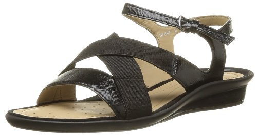 Geox Women's D Emelyne B Fashion Sandals Black Noir (Black) 5 (38 EU)