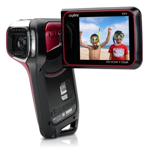Sanyo Xacti VPC-CA9 GX High-Definition 720p Waterproof Camcorder, 9 MP, 5x Optical Zoom Dual Camera (Red)