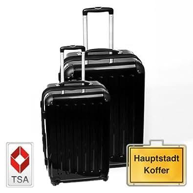 HAUPTSTADTKOFFER Jeu de 2 noir (87Liter/130Liter) étui rigide dans une combinaison de couleurs à haute brillance, TSA serrure à combinaison
