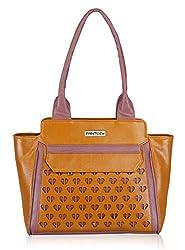 Fantosy Women's Handbag (Tan and Purple) (FNB-548)