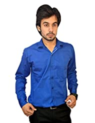 Mc-John Men's Slim Fit Formal Solid Royal Blue Color Cotton Blend Dress Shirt