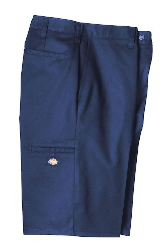 """Dickies Occupational Workwear LR642NV 34 Polyester/ Cotton Relaxed Fit Men's Premium Industrial Multi-Use Pocket Short with Hidden Snap Closure, 34"""" Waist Size, 11"""" Inseam, Navy Blue"""