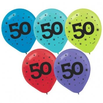 """50"" Printed 12in Balloon Assortment 15ct - 1"