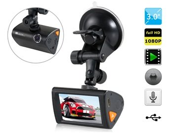 "P7W 3.0"" Lcd Touch Screen 1080P Hd Driver Recorder With Microphone, Voice Recording (Black)"