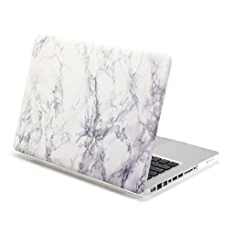 White Marble Pattern Macbook Pro 13.3 Case, DEFAITH Smooth Finish Plastic Hard Case Cover for Macbook Pro 13 inch A1278 with CD-ROM