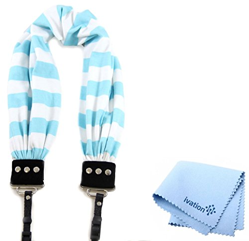 Capturing Couture Aqua Stripe Scarf Super Comfortable Camera Strap and a Bonus Ivation Spot Cleaning Cloth