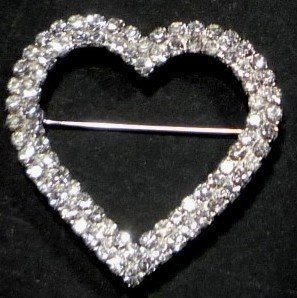 V Heart Clear White Rhinestone Love GIFT BROOCH LAPEL PIN 1-1/2