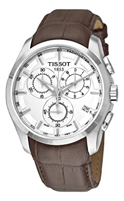 Tissot Men's T0356171603100 Couturier Silver Stainless Steel Chronograph Watch With Brown Leather Band