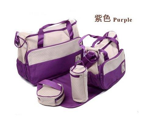 Purple Multi Function Baby Diaper Bag Mummy Mama Nappy Handbag Skbb_029