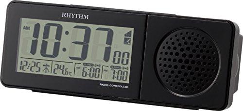 リズム時計 RHYTHM 大音量 電波目覚まし時計 スーパークリアトーンレッツ SR ブラック 8RZ160SR02 8RZ160SR02