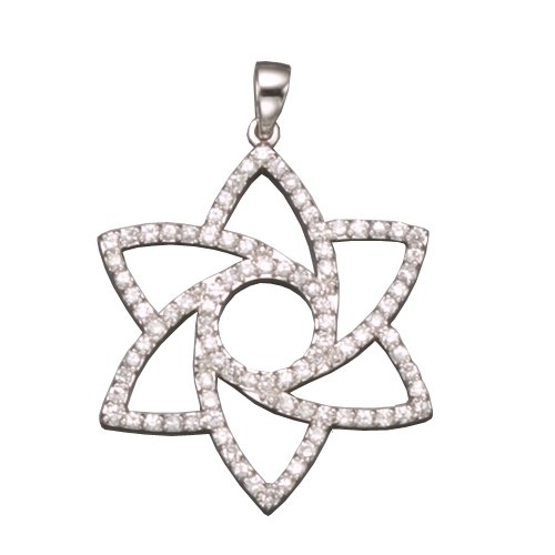 C.Z. OUT LINE FLOWER RHODIUM PLATED (.925) STERLING SILVER PENDENT (Nice Holiday Gift, Special Black Firday Sale)