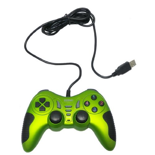 USB Double Dual Shock Joypad Game & Computer Controller - Green & Black