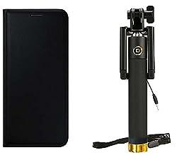 Novo Style Samsung Galaxy S6 Edge Premium PU Leather Quality Black Flip Cover+ Wired Selfie Stick No Battery Charging Premium Sturdy Design Best Pocket SizedSelfie Stick