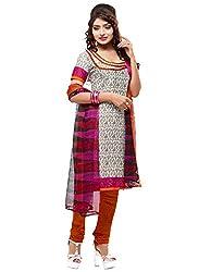 SareeShop Women's Georgette Semi-Stitched Dress Material (B2B3015_Orange_Free Size)