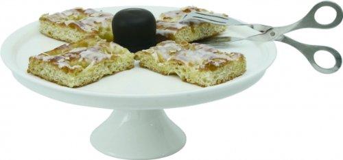 Plat à gâteau sur pied en porcelaine sans bord, 32 cm