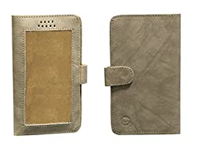 Jo Jo A11 Omni Leather Carry Case Pouch Wallet S View For Micromax Canvas Knight 2 Netural Cream