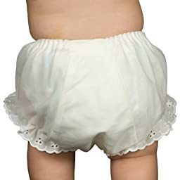 I.C. Collections Baby Girls Ecru Double Seat Diaper Cover Bloomers, Size S