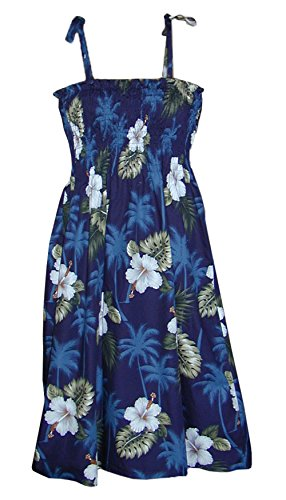 Hawaiian Tube Sun Dress - Navy W/ White Flowers