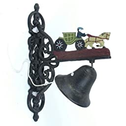 Cast Iron Horse & Buggy Welcome Dinner Bell Yard Art Wall Hanging