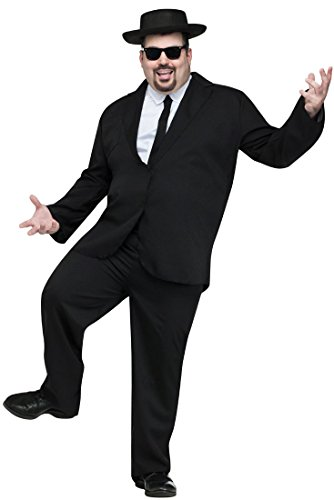 FunWorld Men's Plus Size Black Suit Complete Costume