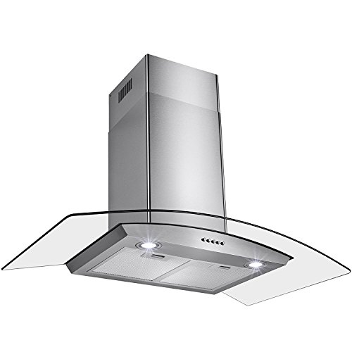 Gracelvoe 36 inch Kitchen Island Vented/ Ductless Stainless Steel Range Hood or Stove Vent with LED Lights (36 Island Range Hood Vent compare prices)