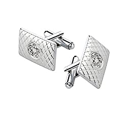 Sorella'z Silver White Cufflinks for Men's