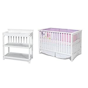 Child Craft London Euro Crib and Upscale Convertible Changing Table, Matte White