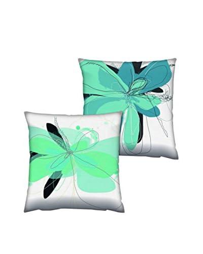 Gravel Set of 2 Large Floral Print Throw Pillows, Blue/Seafoam/White