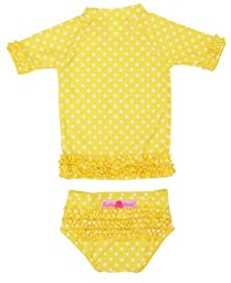 RuffleButts® Infant / Toddler Girls Yellow Polka Dot Ruffled Rash Guard Bikini - Yellow - 6-12m
