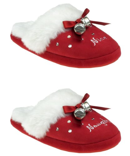 Image of Capelli New York Naughty & Nice Slipper Scuff With Sequins And Bells Ladies Indoor Slipper (B005MJYYD8)