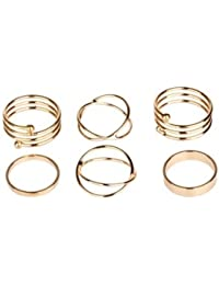 Vezoora Knuckle Stack Urban Plain Finger Band Midi Rings -SET OF 8 PIECES