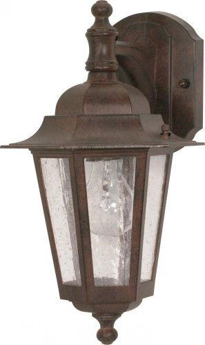 Nuvo 60/989 Arm Down Wall Lantern with Clear Seeded Glass, Old Bronze