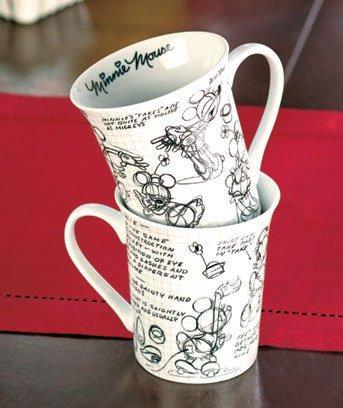 Set Of 2 Minnie Mouse Sketchbook Porcelain Mugs