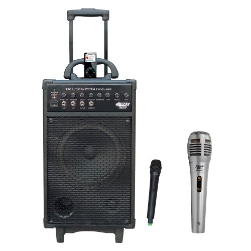 Pyle Speaker And Wireless Mic Package - Pwma860I 500W Vhf Wireless Portable Pa System /Echo W/Ipod Dock - Pdmik1 Professional Moving Coil Dynamic Handheld Microphone