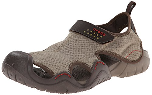 crocs Men's Swiftwater Sandal,Khaki/Walnut,10 M US - 1