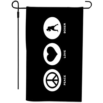 Rikki KnightTM Peace Love Boxer Black Color Design Garden Flag with Sturdy black wrought iron flag pole (Proudly Made in the USA) coupon codes 2015