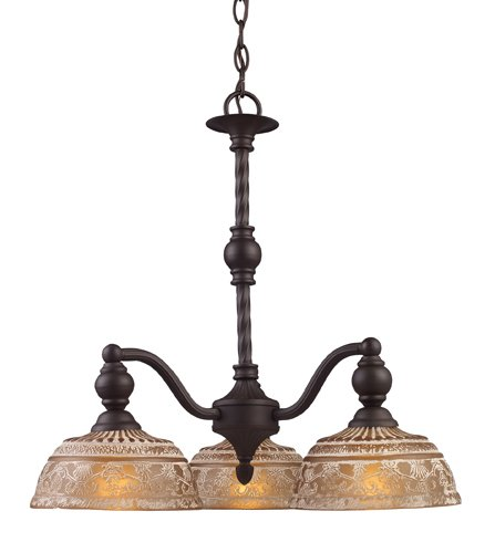 Landmark 66196-3 Norwich 3-Light Chandelier, 21-Inch, Oiled Bronze