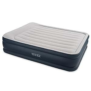 Intex - 67738 - Ameublement et Décoration - Lit Gonflable - 2 Places Larges - Rest Bed Gonfleur Intègre - 220 volts - 203 x 152 x 43 cm