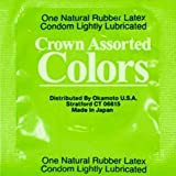Crown Rainbow Colors Ultra Thin Sheerlon Latex Condoms By Okamoto with Silver Pocket/Travel Case-36 Count