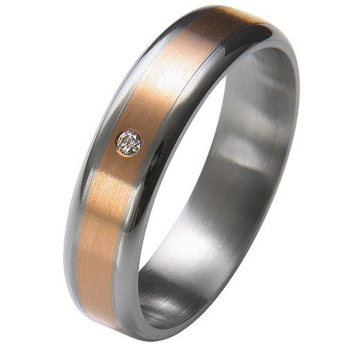 Liebe² 0506001140S258 Ladies' Wedding Ring Stainless Steel 1 Diamond 0.01 ct Size 58 / R