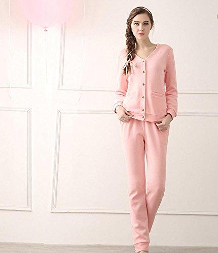 Autunno ladies femminile ladies' maglia cotone pigiami pigiama abbigliamento casa Cardigan pigiama donna tinta unita , pink , xl