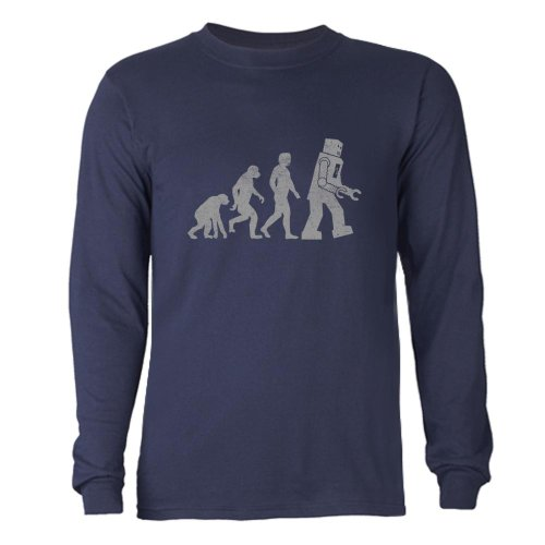 Cafepress Robot Evolution Long Sleeve Dark T-Shirt - L Navy front-614080