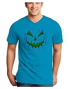 Scary Glow Evil Jack O Lantern Pumpkin Adult V-Neck T-shirt - Turquoise - Large