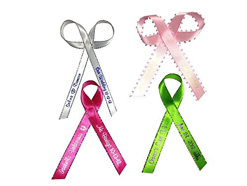 """25 Personalized Favors Printed Ribbon 1/4"""" Or 3/8"""" For Birthday. Baby Shower, Sweet 15, 16 Other Occasion"""