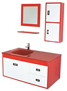 Luxo Marbre California Red Kit California Vanity With Tempered Glass Sink Mirror And Side
