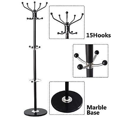 New 15 Hooks Coat Rack clothes Hat Shoes Umbrella Purse Holder Hanger Hall Stand Tree Black Metal